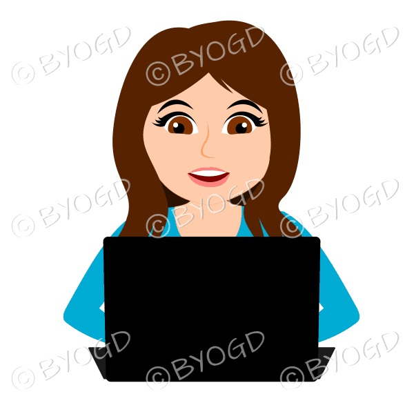 Smiling businesswoman with long brown hair working at laptop computer in light blue