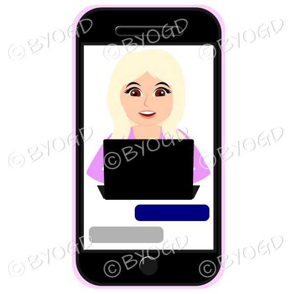 Businesswoman with long blonde hair working on computer framed by cell/mobile phone wearing pink