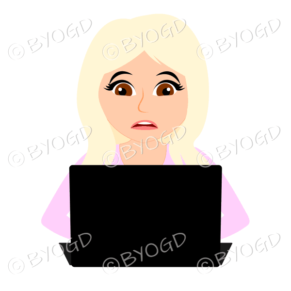 Stressed businesswoman with long blonde hair working at laptop computer in pink