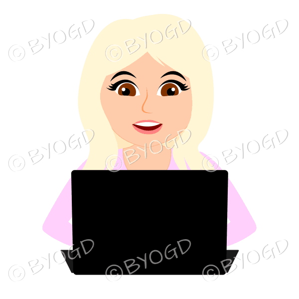 Smiling businesswoman with long blonde hair working at laptop computer in pink
