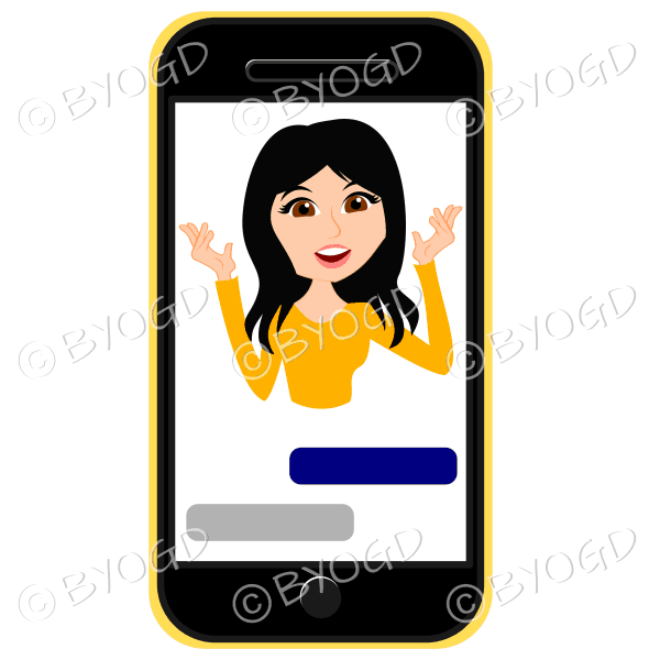 Businesswoman with long black hair talking framed by cell/mobile phone in yellow