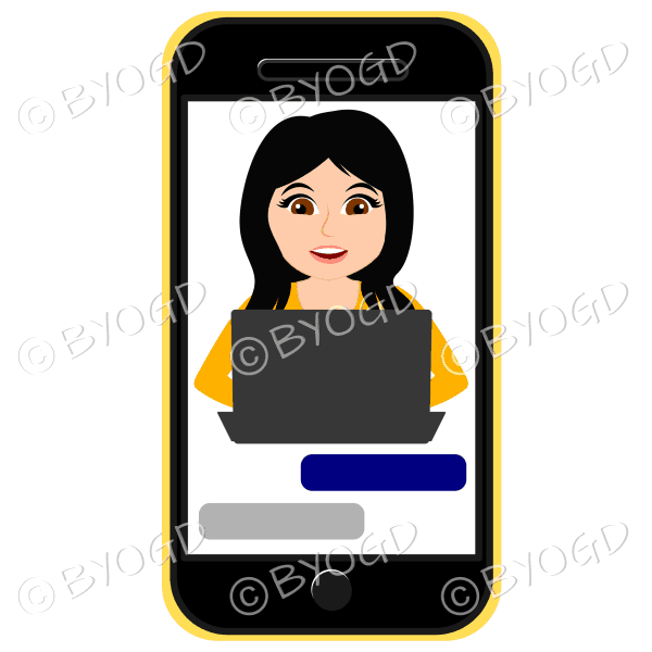 Businesswoman with long black hair working on computer framed by cell/mobile phone in yellow