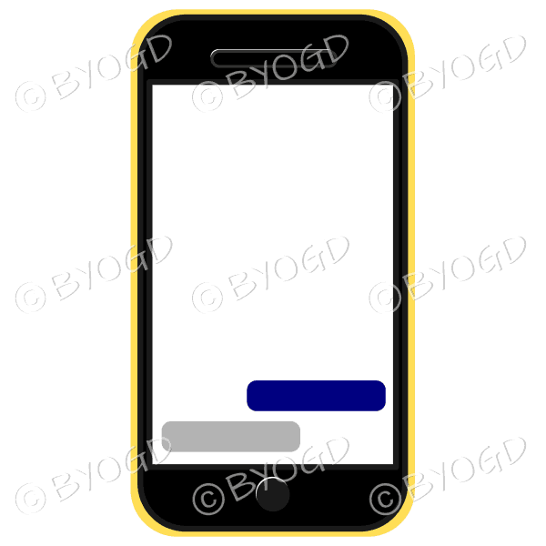 Blank cell phone for your own message in yellow