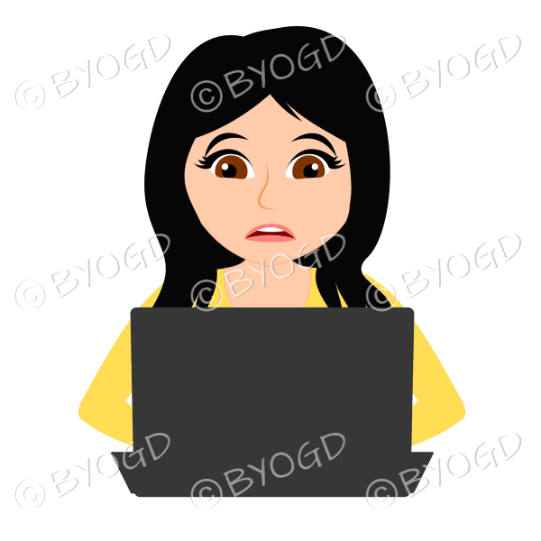 Stressed businesswoman with long black hair working at laptop computer in yellow