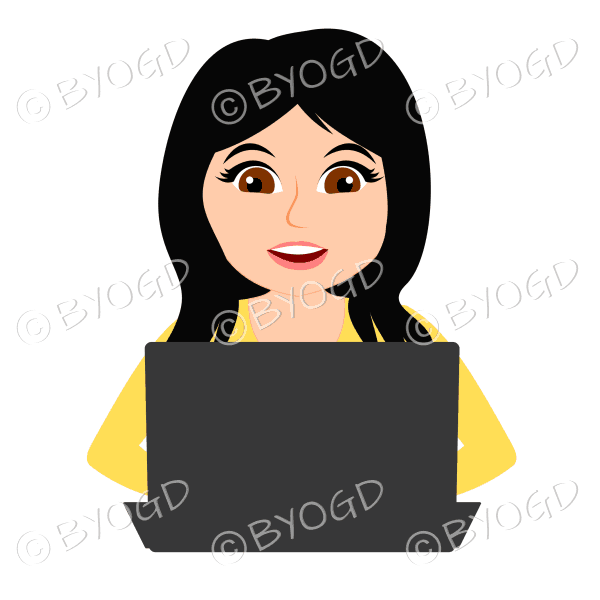 Smiling businesswoman with long black hair working at laptop computer in yellow