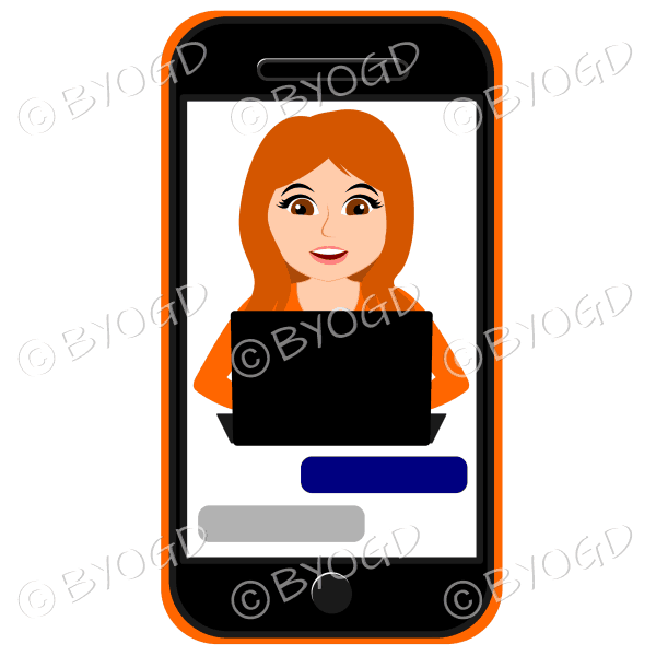 Businesswoman with long red/orange hair working on computer framed by cell/mobile phone in orange