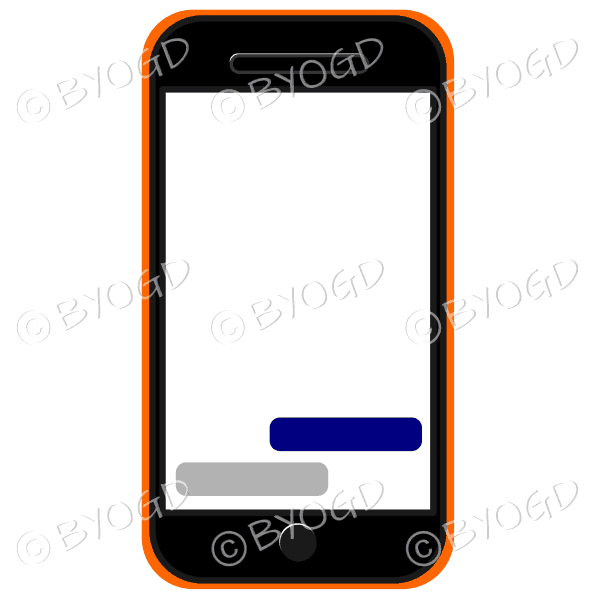 Blank cell phone for your own message in orange