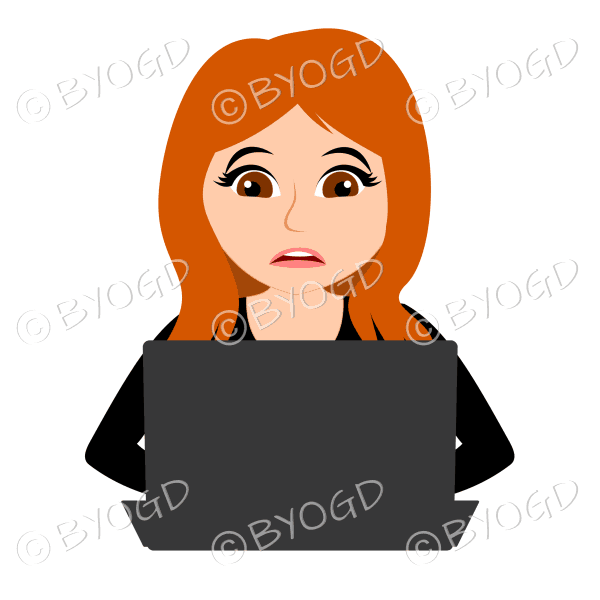 Stressed businesswoman with long red/orange hair working at laptop computer in black
