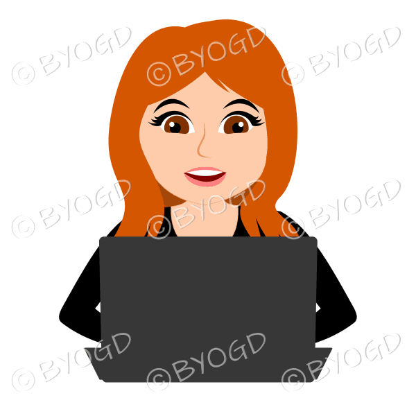 Smiling businesswoman with long red/orange hair working at laptop computer in black