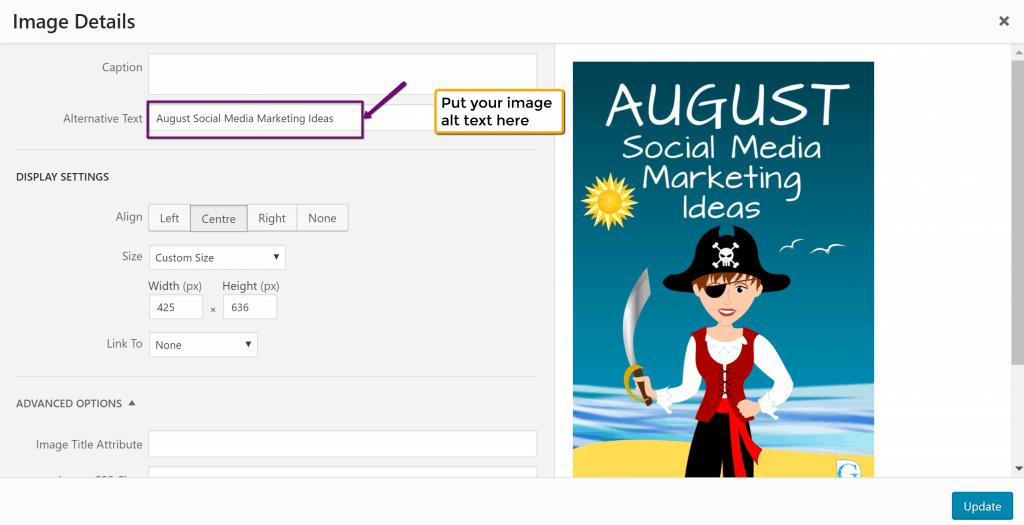 Adding an image alt tag/alt text