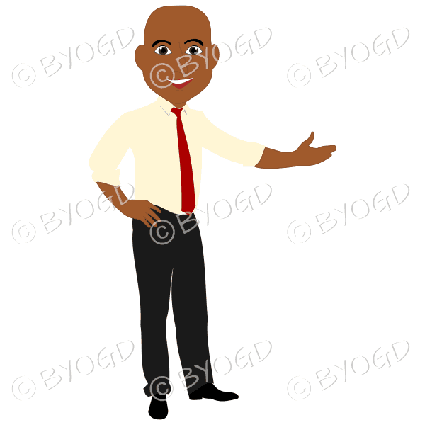 Bald man in yellow shirt and red tie