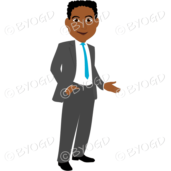 Man with black/dark hair in grey business suit with light blue tie