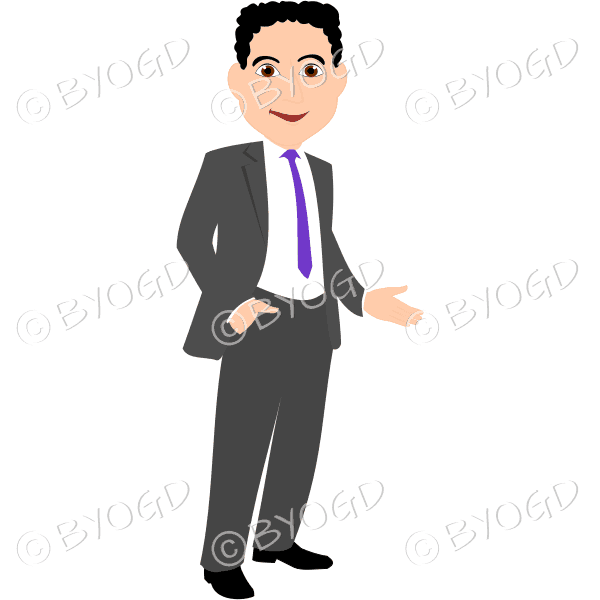 Man with black/dark hair in grey business suit with purple tie