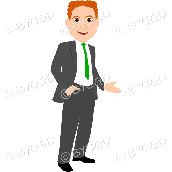 Man with red hair in grey business suit with green tie