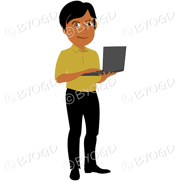 Man with dark/black hair holding laptop computer in yellow shirt