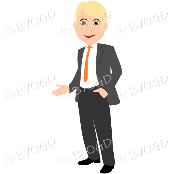 Man with blonde hair in grey business suit with yellow tie