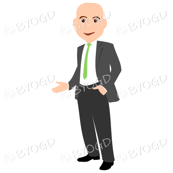 Bald man in grey business suit with green tie