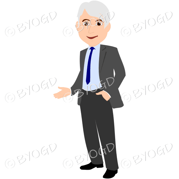 Man with silver/grey hair in grey suit with blue tie