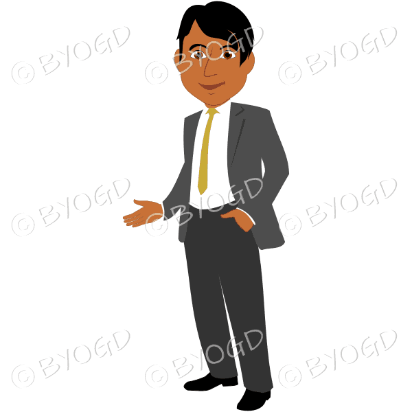Man with dark/black hair in grey business suit with yellow tie