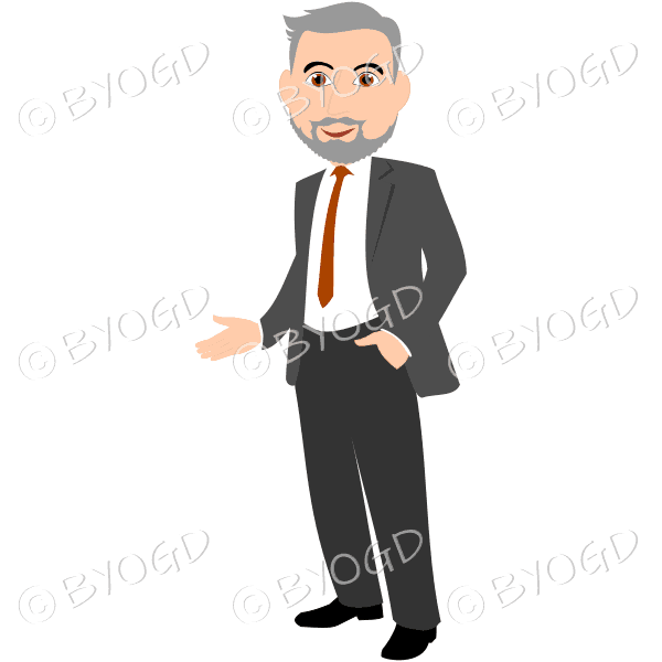 Business man with silver/grey hair and beard in grey business suit with brown tie