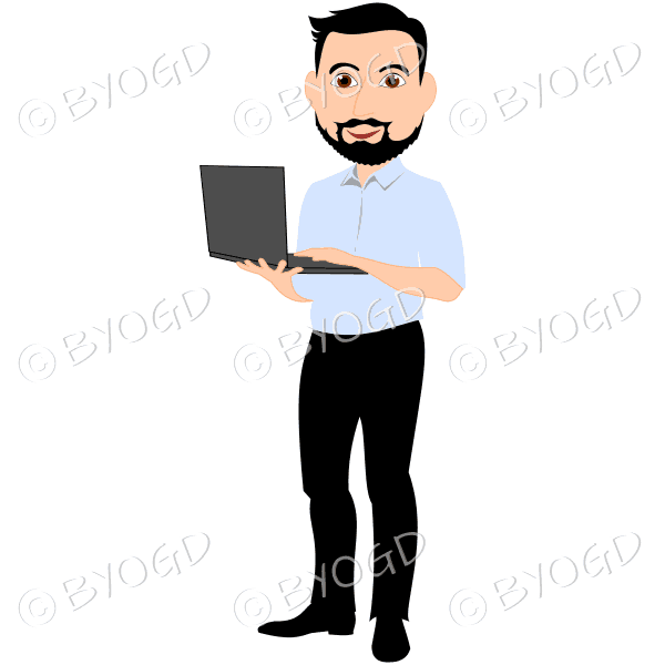 Business man with dark/black hair and beard holding computer in blue shirt