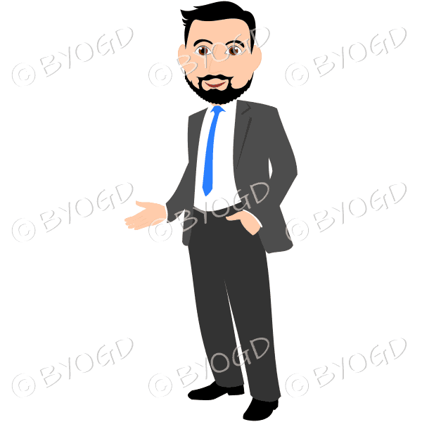 Business man with dark/black hair and beard in grey business suit with blue tie