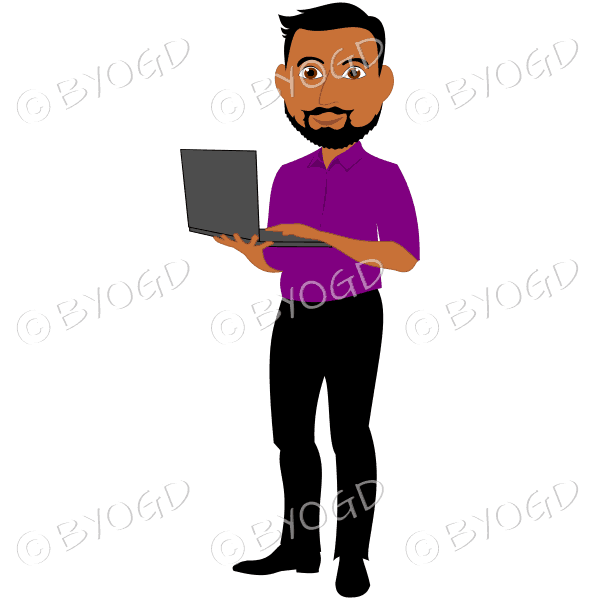 Man with dark/black hair and beard holding computer in purple shirt