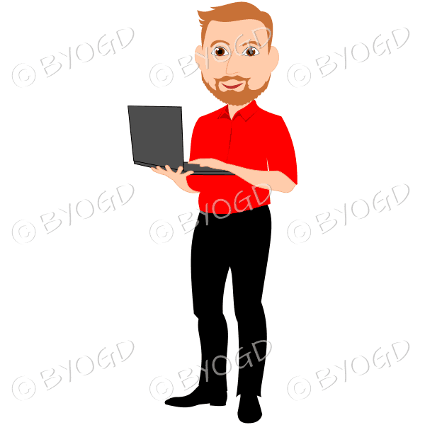 Man with red hair and beard holding computer in red shirt