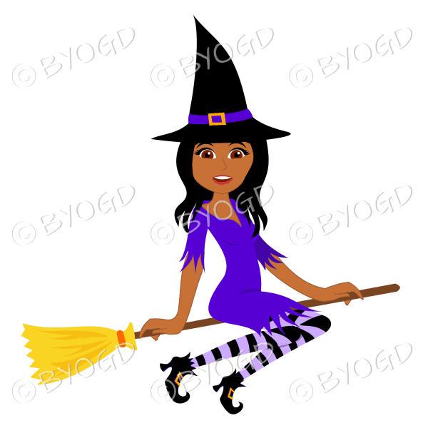 Halloween witch with long dark hair on broomstick in purple