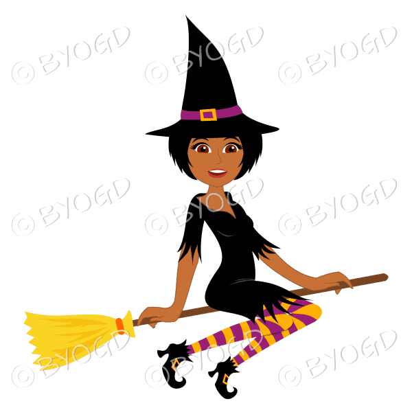 Halloween witch with short dark hair on broomstick in black with pink and orange stockings