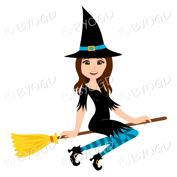 Halloween witch with long brown hair on broomstick in black with light and dark blue stockings
