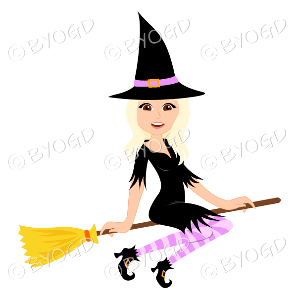 Halloween witch with long blonde hair on broomstick in black with pink stockings