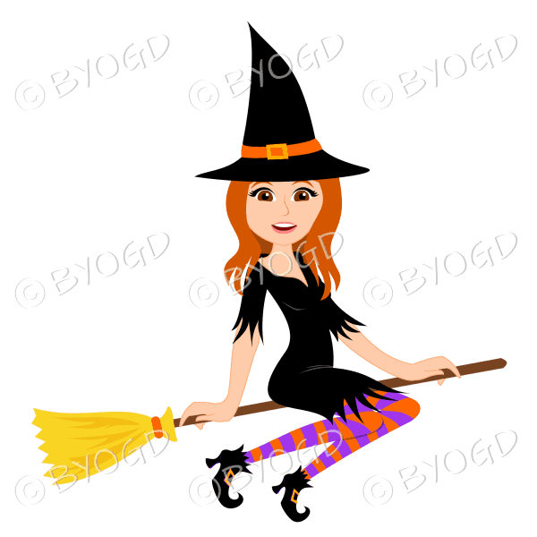 Halloween witch with long red hair on broomstick in black with purple and orange stockings