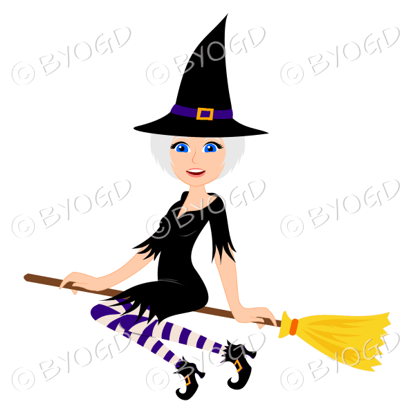 Halloween witch with silver/grey hair on broomstick in black with purple and brown beige stockings