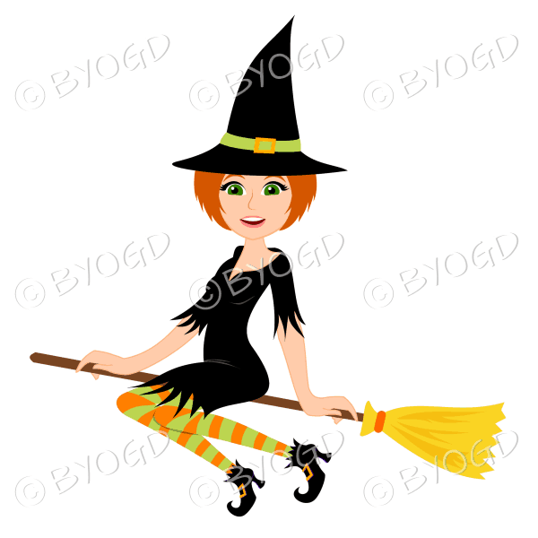 Halloween witch with short red hair on broomstick in black with green and orange stockings
