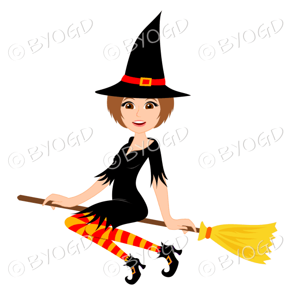 Halloween witch with short brown hair on broomstick in black with red and orange stockings