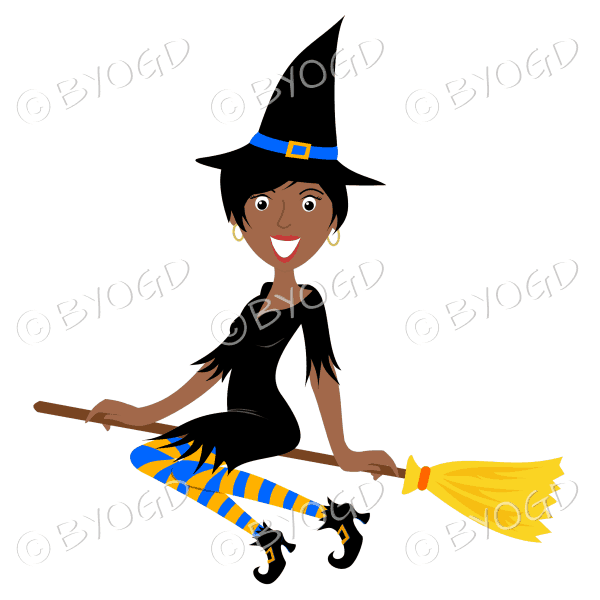 Halloween witch with short black hair on broomstick in black with yellow and blue stockings