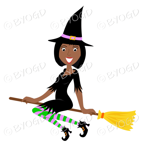 Halloween witch with short black hair on broomstick in black with pink and green stockings