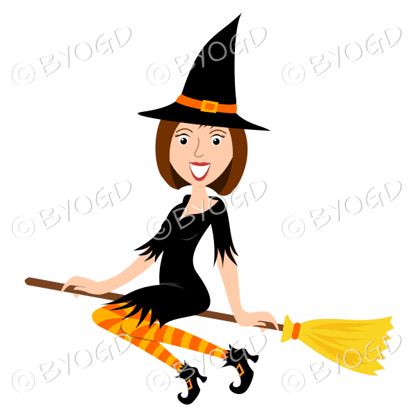 Halloween witch with short bobbed brown hair on broomstick in black with yellow and orange stockings