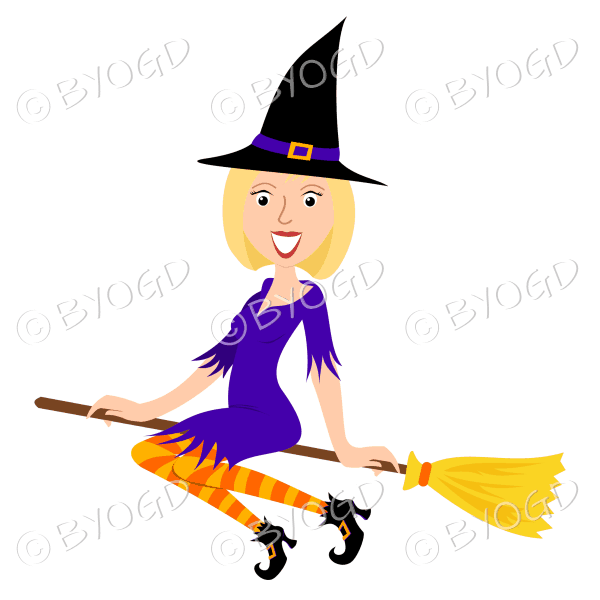 Halloween witch with short bobbed blonde hair on broomstick in purple with yellow and orange stockings