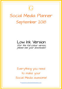 September 2018 Low Ink Social Media Planner