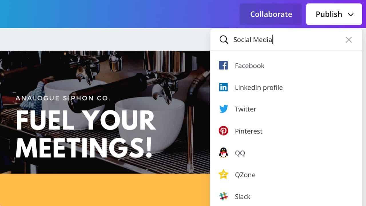 Publish directly to LinkedIn, Pinterest, Facebook, Twitter, Slack and more