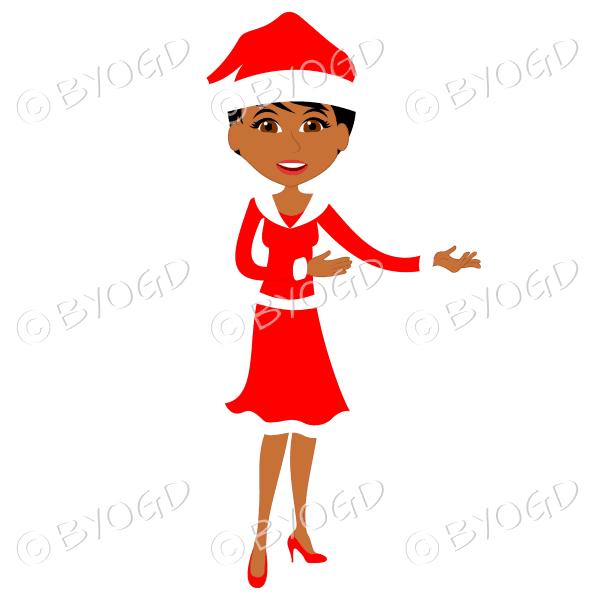 Christmas woman Santa standing – dark skinned with short black hair