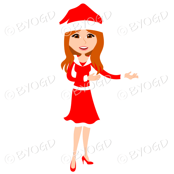 Christmas woman Santa standing – with long red hair