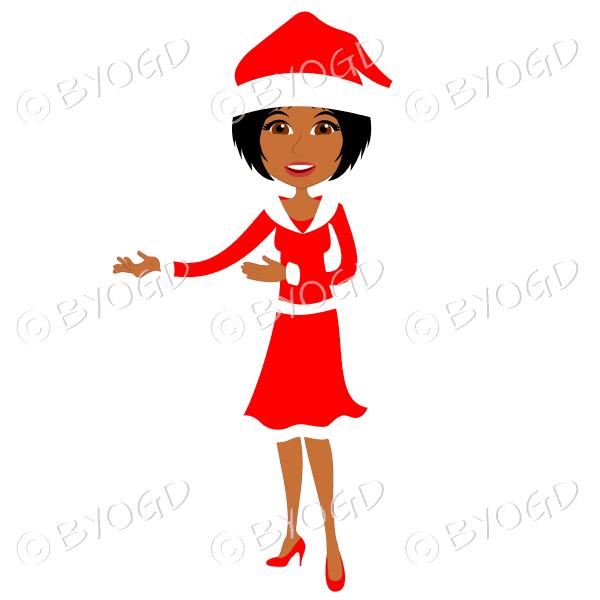 Christmas woman Santa standing – dark skinned with medium length black hair