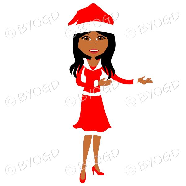 Christmas woman Santa standing – dark skinned with long black hair