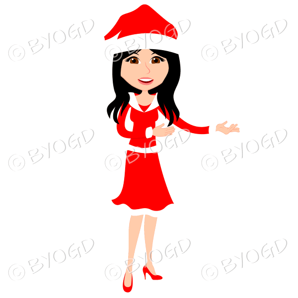 Christmas woman Santa standing – with long black hair