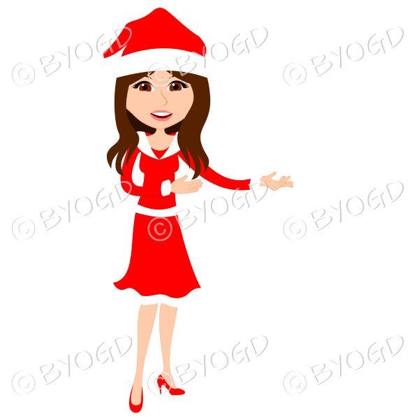 Christmas woman Santa standing – with long brown hair