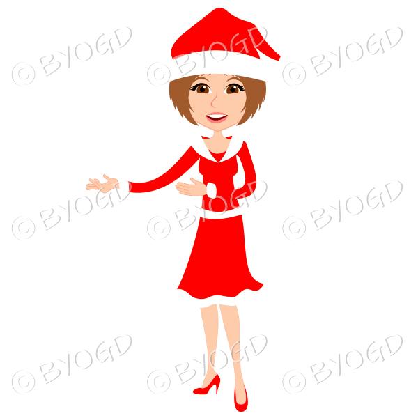 Christmas woman Santa standing – with medium length light brown hair