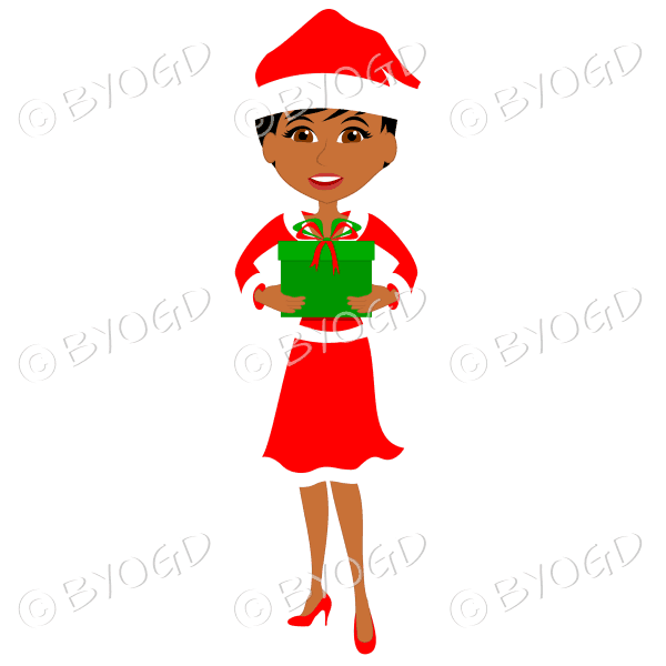 Christmas woman Santa holding a gift – dark skinned with short black hair